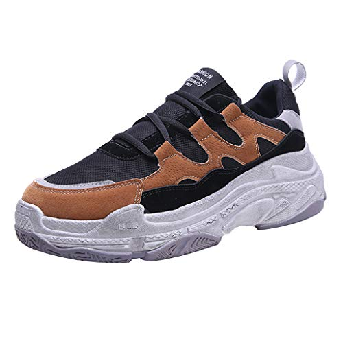 (CCFAMILY Women's Fashion Mesh Casual Shoes Ladies Low-Top Student Shoes Breathable Running Sneakers Brown)