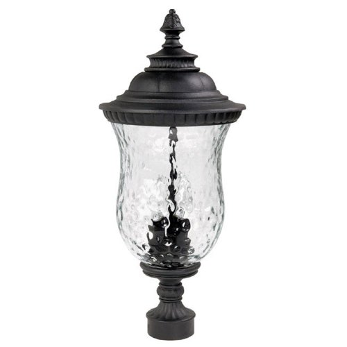 Capital Lighting 9785BK Ashford 3-Light Outdoor Post, Lantern Black with Hammered Glass by Capital Lighting