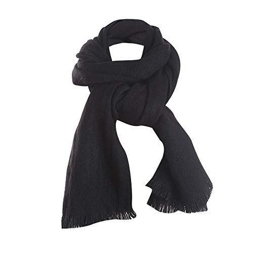 - Saitingdianzi Women Casual Winter Warm Solid Fringes Soft Neck Scarf Woolen Whisker Tassel Shawl (Black,M)