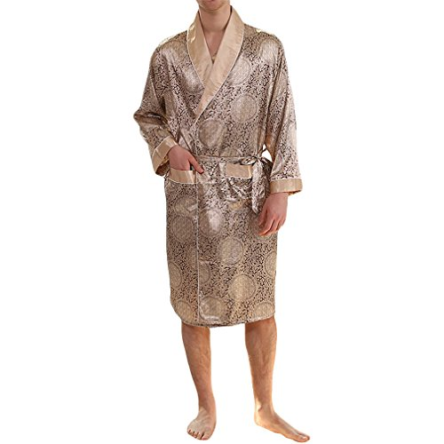 YIMANIE Mens Silk Satin Robe Lightweight Spa Bathrobe with Shorts Nightgown Long Sleeve House Kimono Luxurious Bathrobe Set Gold