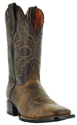 Two-Tone Mens Leather Cowboy Boots by Soto Boots Brown