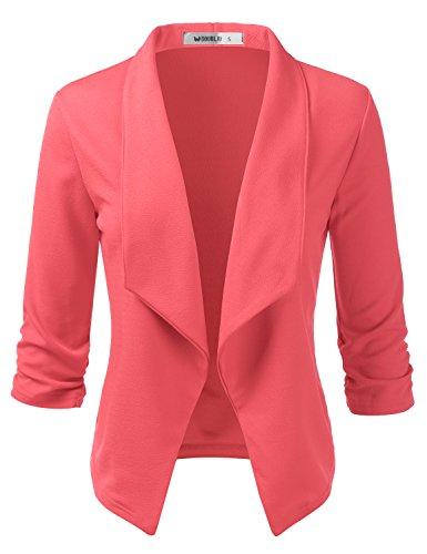 (CLOVERY Women's 3/4 Sleeve Ruffle Design Cropped Bolero Shrug Open Front Cardigan Coral)
