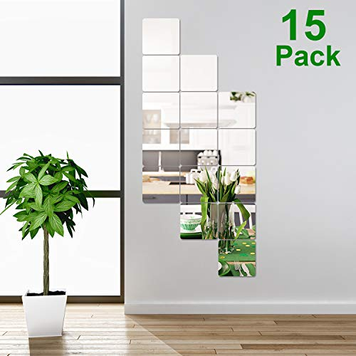 15 Pieces Removable Acrylic Mirror Setting Wall Sticker Decal for Home Living Room Bedroom Decor (Style 5, 15 Pieces)