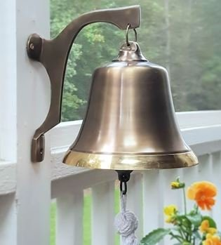 Engraved Two-Toned Antiqued Brass Wall Bell by Brass Bell