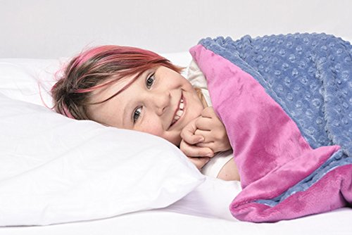 Weighted Blanket by Creature Commforts for kids, adults - Sleep better - Great for ADHD, Autism, PTSD, Insomnia - Removable minky cover, organic insert - made in USA - Large 12 lbs 35 x 50 - pink by Creature Commforts