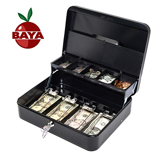 Cash Box with Money Tray | Key Lock | Tiered Coin Tray with Lid | Steel Cash/Money Storage Safe | For Petty Cash Security | 12 x 10 x 3.5 Inches | Black (Cash Box Drawer Tray With Locking Cover)