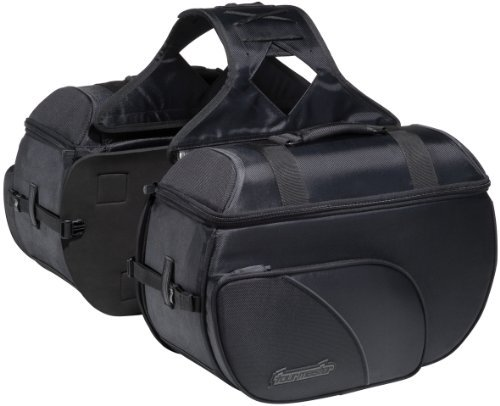 Tourmaster 8203-0305-06 Black Large Nylon Cruiser III Box Saddlebag (Nylon Motorcycle Saddlebags)