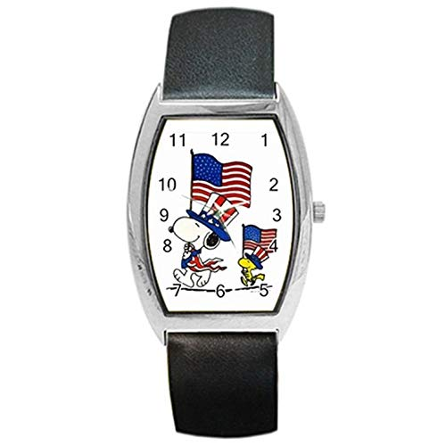 (Snoopy The Peanuts Military Independence Day American Flag Wristwatch For Men Women Kids Boys Girls Students Great For Gifts Barrel Style Metal Watch)