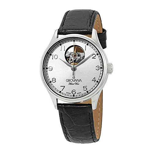 Grovana Heart View Automatic Silver Dial Black Leather Ladies Watch 3190.2592