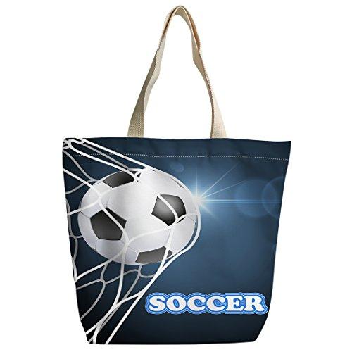 Violetpos Benutzerdefiniert Canvas Handtasche Einkaufstaschen Umhängetasche Schultasche Netto Fußball Soccer Blau 2tzRjn0