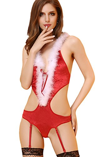 1920s Men's Bathing Suit Costume (Maxde Women's Christmas Lingerie Sexy Santa Costume Cosplay Suit Halter Bikini)