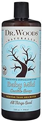 Dr. Woods Unscented Baby Mild Liquid Castile Soap with Organic Shea Butter, 32 Ounce