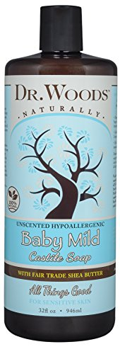 Dr. Woods Baby Mild Unscented Liquid Castile Soap with Organic Shea Butter, 32 Ounce