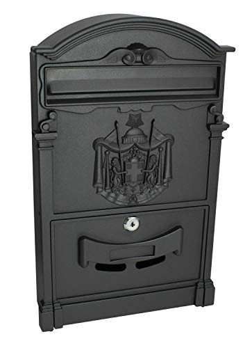 Cast Aluminum Wall Mailbox - Locking Wall Mounted Mailbox - Vintage Style with Crest Design - Rustic Black Aluminum Mail Box