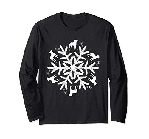 Boston Terrier Long Sleeve T-Shirt Snowflake Pattern Shirt