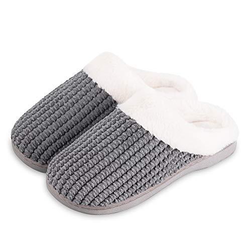 Cotone Da Esterno Comode Morbido Scuro Inverno Scarpe Pantofole Interno Casa Memoria Caldo Donna Grigio Per Peluche Antiscivolo Schiuma gxwxfCFq