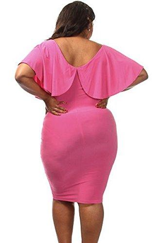 Nueva mujer Plus Size Color rosa volantes de encaje hasta vestido de Midi vestido de prom noche partido desgaste plus tamaño UK 16–�?8EU 44–�?6