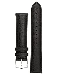 Signature Buffalo watch band. Replacement watch strap. Genuine Leather. Silver buckle (22 mm - short, Black)