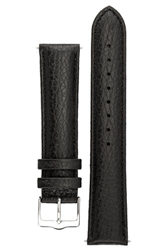 signature-buffalo-in-black-18-mm-short-watch-band-replacement-watch-strap-genuine-leather-silver-buc