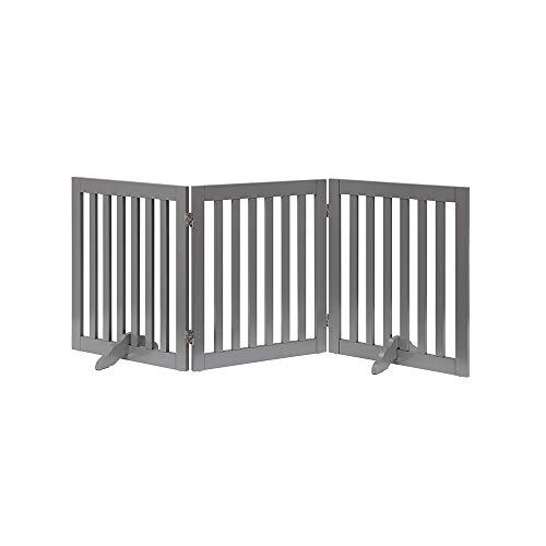 unipaws Freestanding Wooden Pet Gate Foldable Dog Gate w/2PCS Support Feet Dog Barrier Indoor Pet Gate Panels for Stairs, Gray