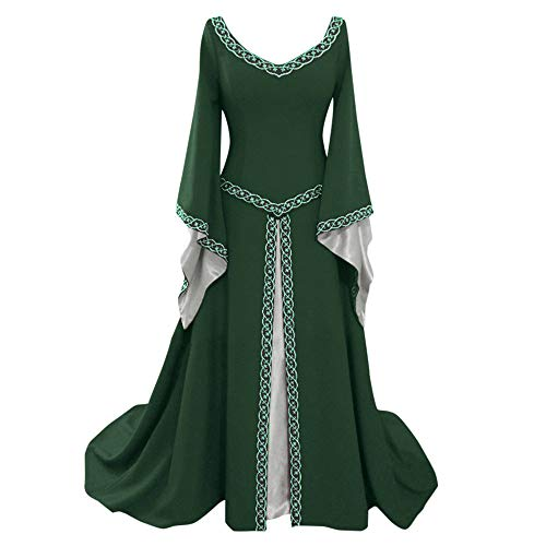 CCOOfhhc Victorian Vintage Dress-Womens Irish Medieval Dress Costume Retro Gown Cosplay Costumes Hollow Flare Long Dress Green