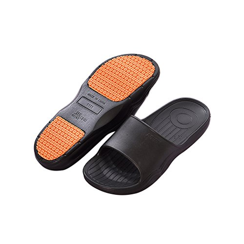 Bastolive Womens or Mens Antimicrobial Shower Water Sandals/Flip Flops/Slippers For Pool, Beach, Dorm & Gym, Outdoor, Indoor, Bedroom, Home/House (US Mens 9-10, Black)