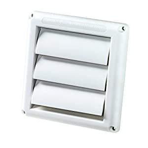 Deflecto Supurr-Vent Louvered Outdoor Dryer Vent Cover, White, 4″ Hood (HS4W/18)