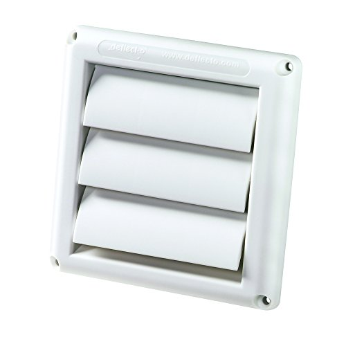 Deflecto Supurr-Vent Louvered Outdoor Dryer Vent Cover, 4 Inches Hood, White (HS4W/18) - External Exhaust Duct
