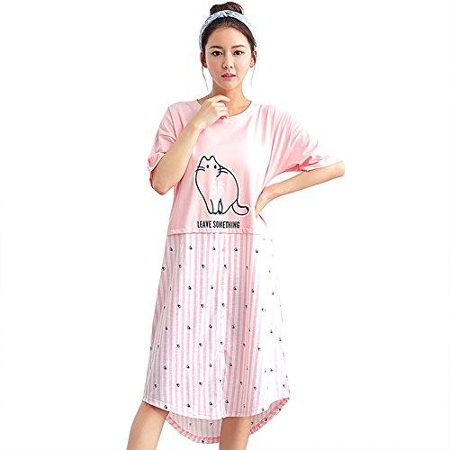 4ec1910ec4 PJ LIFE Casual Short Sleeve Nightgown   Sleep Dress   Dorm Shirt   Pajamas