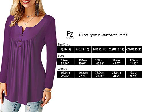 Uni Bequemer T Bouton Shirt Loose Laden Shirt Casual Row Manches Tee Blouse Col Pliss Femme Chic Tops Violet V Longues qqv4C