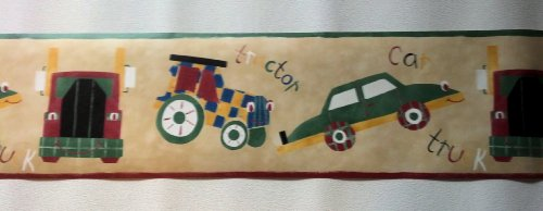 Kids Transportation Wallpaper Border - Cars, Trucks, Tractors - Tan LY70204B - Tan Tractors