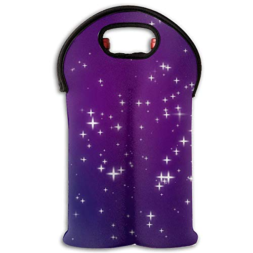Sparkly Purple Blue Pink Night Sky Full of Stars 2 Bottle Wine Tote Carrier Bag Portable Insulated Polyester Beer Hand Bag for Travel,Picnic,Party