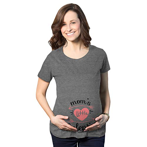 Maternity Moms Little Valentines Day Cute Announcement Baby Pregnancy T Shirt (Dark Heather Grey) - L
