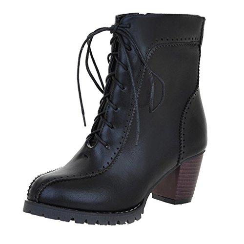 YE Damen Retro Elegant Chunky Heels schnürstiefeletten mit 6cm Absatz Blockabsatz Bequeme Ankle Boots Herbst Winter Schuhe Schwarz