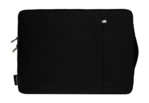 Emartbuy Universal 11.6-13.3 Inch Black Premium Fabric Carrying Case Cover Sleeve with Retractable Handle and Zipped Pocket Suitable for Selected Laptops Notebooks Ultrabooks Listed ()