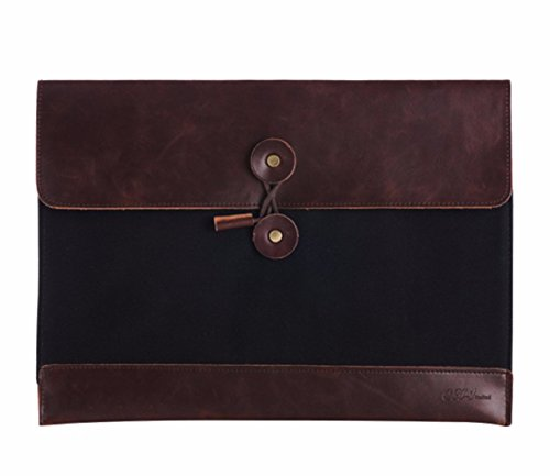 table PU Leather A4 File Folder Pocket Document Wallet Paper Files Record Bag Business Handbag Storage Organizer Briefcase (Oak File Holder)