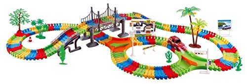 Velocity Toys 22869 City Bridge Big Deluxe 257 Pcs Flexible Toy Track Playset w/ Battery Operated Toy Car, Accessories, Endless Fun & - Car Playset City