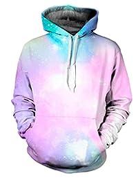 Ensnovo Unisex 3D Digital Print Galaxy Pocket Pullover Hooded Sweatshirt