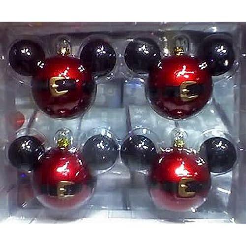 disney park mickey mouse santa belt christmas ornament set of 4 new - Mickey Mouse Ornaments Christmas
