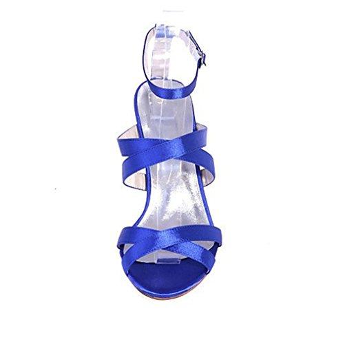 High A Heels Sandalen CLOVER Blau Satin LUCKY Blue Frauen PU Büro Stlletto Mädchen Braut Hochzeit Plattform Ferse EU43 Zehen Offene Geschenk Dating Wasserdicht nt5W4