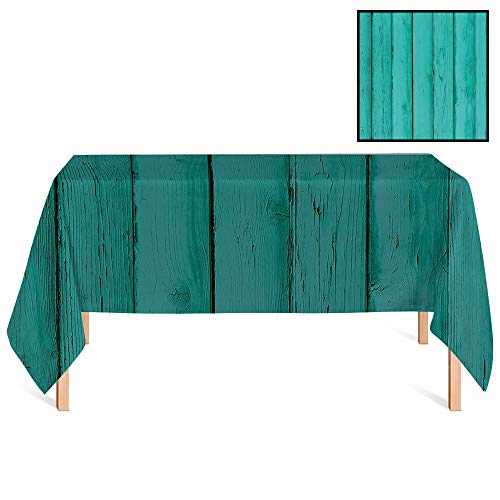 (SATVSHOP Decorative Table Cloth /55x120 Rectangular,Mint Old Wooden Rustic Oak Plank Background with Vertical Striped Vivid Woods Farm Barn Image Teal.for)
