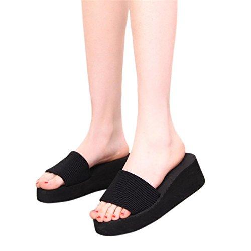 LHWY Damen Schuhe Sandalen Slipper Indoor & Outdoor Schwarz