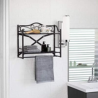 Home Zone Living CAH7005U Home Zone Bath Wall Mounted Storage Towel Rack, Foldable Design, No Tools Required for Assembly, 2-Tier, Oil-Rubbed Bronze - ADDS EFFICIENT STORAGE - The 2-tier wall mounted storage shelf utilizes an often unused area in the bathroom to give you ample space while storing more essentials UNIQUE DESIGN - No tools? No problem. Designed to be assembled without the use of hand or power tools making installation easier than ever ORGANIZATION MADE EASIER - With the unique tool-less design and easy access configuration, you can easily obtain what you want, without the hassle of digging through drawers and cabinets - shelves-cabinets, bathroom-fixtures-hardware, bathroom - 41RxbC iHPL. SS400  -