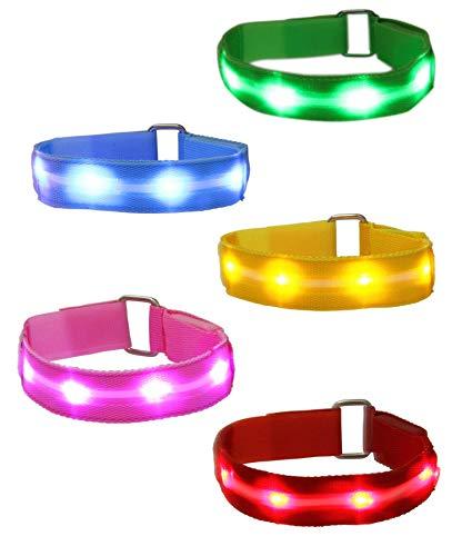 Mosany 5 Pack LED Sports Armband Flashing Safety Light LED Wristband Belt Ankle Band LED Slap Armband Glow Bracelet High Visibility Gear for Running Cycling or Walking at Night (5 Pack Muti-Color)