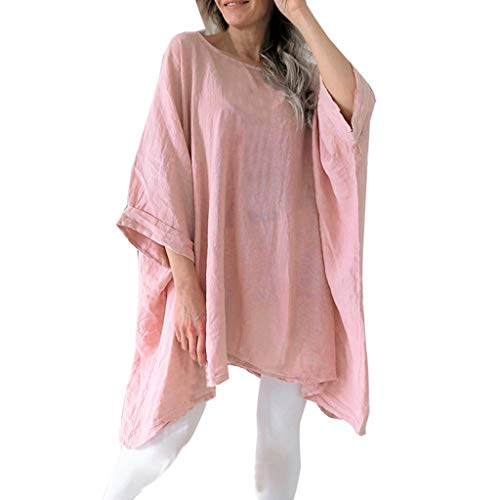 (TUSANG Women Tees Cotton Linen Batwing Half Sleevel Shirt Irregular Hem Casual Loose Blouse Loose Fit Comfy Tunic(Pink,US-10/CN-XL) )