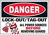 Vinyl Lock-Out Labels - Lock-Out / Tag-Out All Power Sources - 3-1/2''h x 5''w, White DANGER LOCK-OUT / TAG-OUT ALL POWER SOURCES BEFORE REMOVING GUARDS