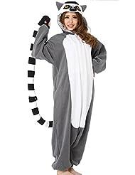 WOTOGOLD Animal Cosplay Costume Lemur Men Women Pajamas Gray