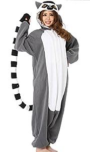 WOTOGOLD Animal Cosplay Costume Lemur Unisex Adult Pajamas Gray,Small