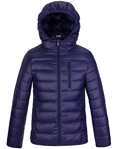 Wantdo Boy's Ultra Lightweight Packable Puffer Down Jacket Hooded Winter Jacket Navy 10/12