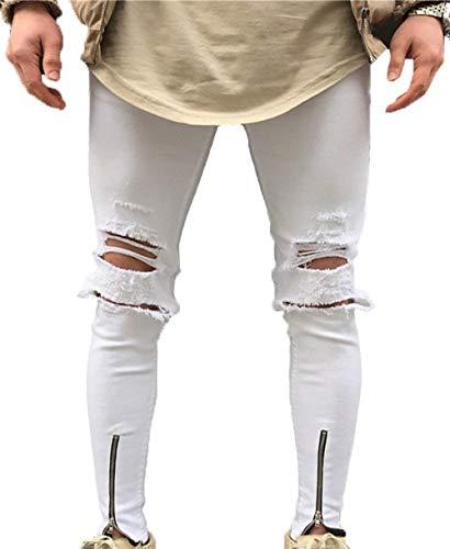 Vestibilità Skinny Uomo Slim Stretti Lanceyy Slim Pantaloni Casual Semplice Stile Da Jeans Bianca nw0aaxqvg